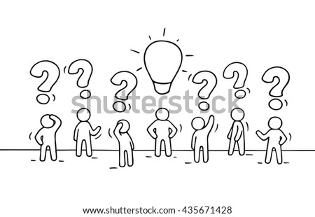 Sketch - crowd of working little people with question sings and lamp idea. Doodle cute miniature teamwork find right decision. Hand drawn cartoon vector illustration for business design. - stock vector
