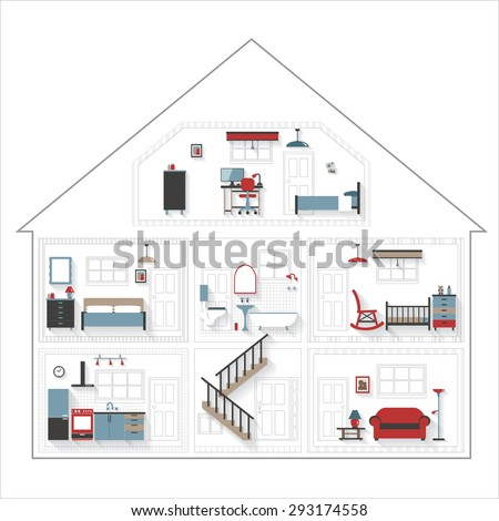 Sketch Cutaway Residential House with Furniture in Color - rooms very detailed include furnishings - grouped and layered EPS10 contains blends
