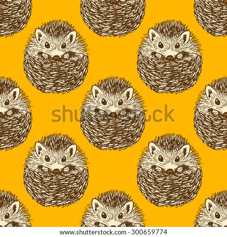 Sketch cute hedgehog in vintage style, vector seamless pattern - stock vector