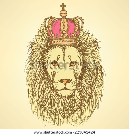 Sketch cute lion with crown in vintage style, background - stock vector