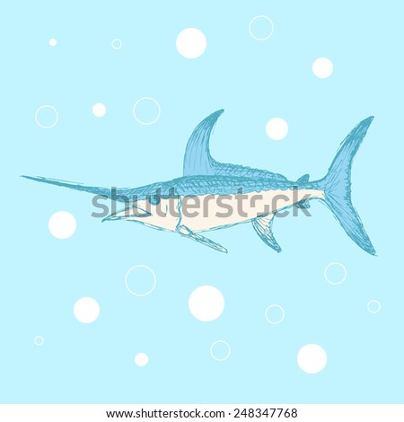 Sketch cute swordfish in vintage style, vector - stock vector