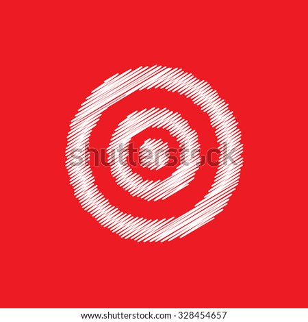 Sketch dartboard on red background.