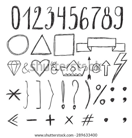 Sketch design elements. Numbers. Set of hand drawn graphic signs. Vector illustration - stock vector