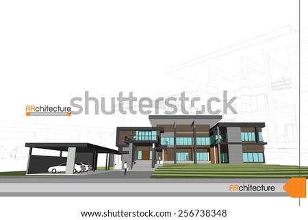 sketch design of house,vector - stock vector