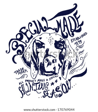 sketch dog for apparel - stock vector