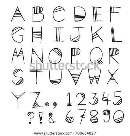 Sketch Doodle Alphabet Font Design With Numeric Number And Symbol For Decoration