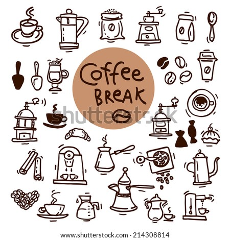 Sketch doodle coffee icon set. Hand drawn vector illustrations. Menu design elements - stock vector