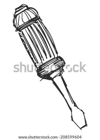 sketch, doodle, hand drawn illustration of screwdriver