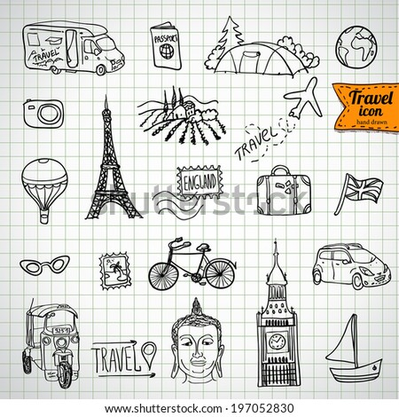 sketch doodle icon collection, picnic, travel and camping theme, vector illustration hand drawn - stock vector
