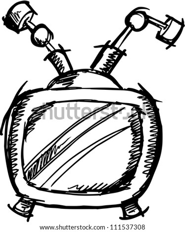 Sketch Doodle Television Vector Illustration Art