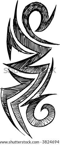 Sketch Doodle Tribal Tattoo Vector Illustration