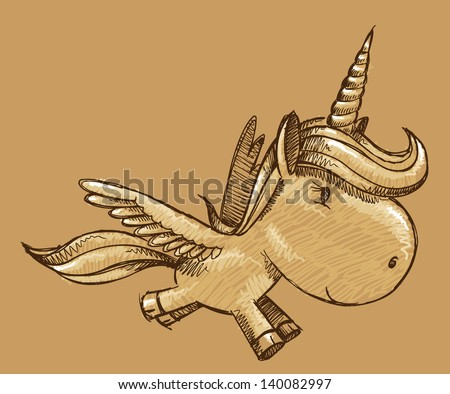 Sketch Doodle Unicorn Pony Horse Vector Illustration Art