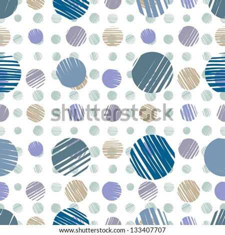 Sketch dots seamless pattern, pale blue vector background.