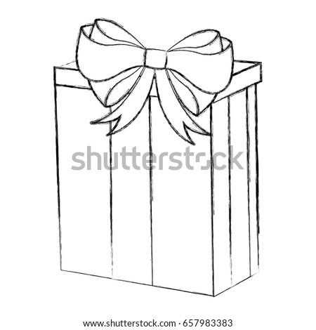 sketch draw christmas gift cartoon stock vector royalty free