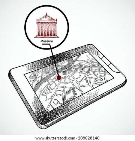Sketch draw tablet pc with navigation map and find museum building vector illustration - stock vector