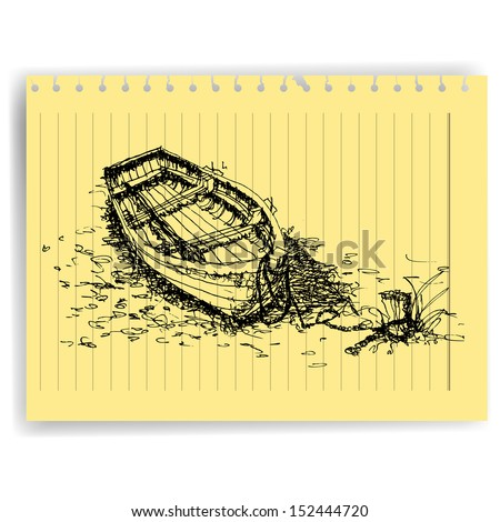 Ocean Line Drawing Sketch Drawing Boat on Lined