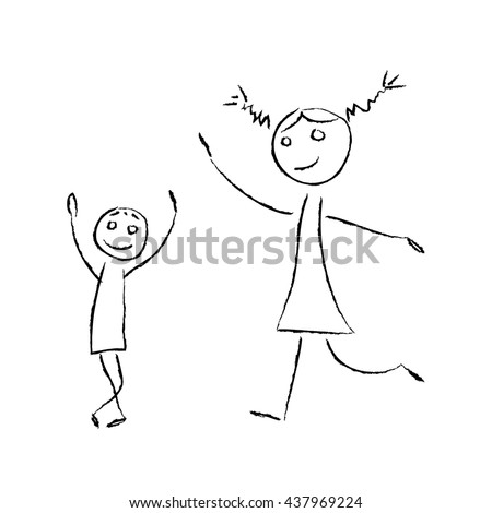 Sketch drawing illustration meeting fun little boy and girl on a white background. Happy greeting, dancing brother and elder sister, son and mother, teacher. Simple cartoon scene. - stock vector