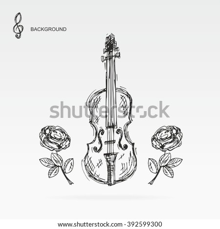 Sketch - Drawn by hand - Violin - Rose.