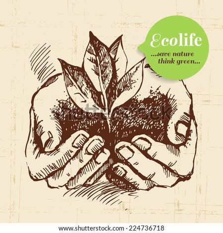 Sketch ecology vintage background. Hand drawn vector illustration - stock vector