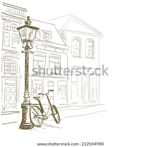 sketch European streets. vector illustration - stock vector