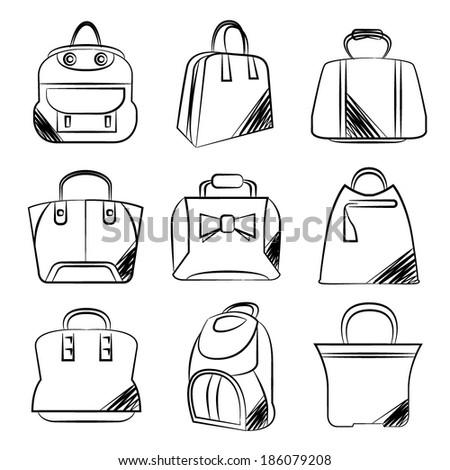 sketch fashion bag collection, bag icons set - stock vector