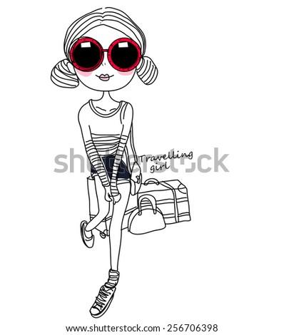 Sketch fashion girl - stock vector