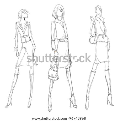 SKETCH. fashion girl. Hand-drawn fashion model - stock vector