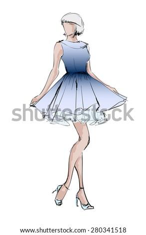 SKETCH. fashion girls - stock vector