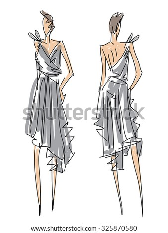 Sketch Fashion Poses - a woman with gray dress - stock vector
