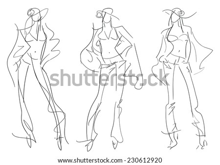 Sketch Fashion Poses - fashion hand drawing - stock vector