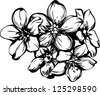 sketch five flowerets in one bouquet - stock vector