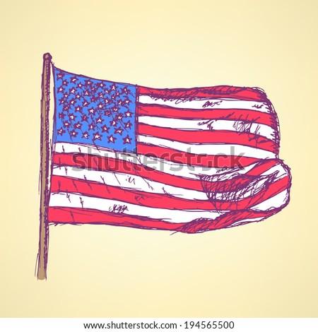 Sketch flag of USA, vector vintage background - stock vector
