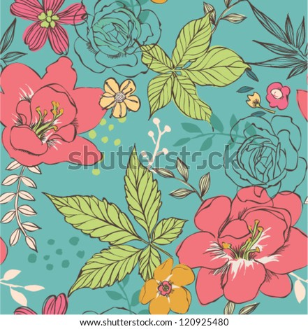 sketch flower saemless pattern background decorative