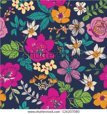 sketch flower seamless pattern background - stock vector