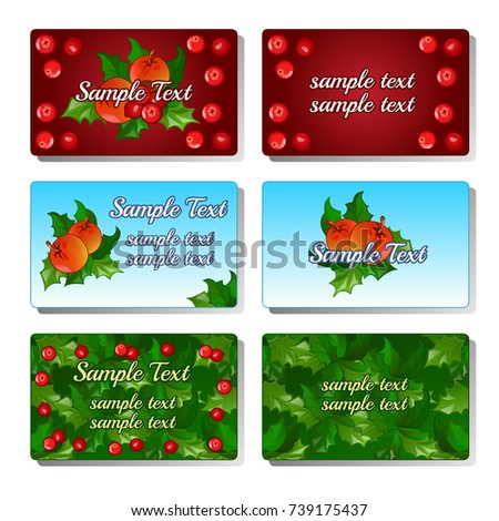 Sketch for greeting cards, invitations, posters, other cards with the leaves and berries of holly or ilex. Set of cards with space for your sample text on theme of Christmas. Vector cartoon close-up.