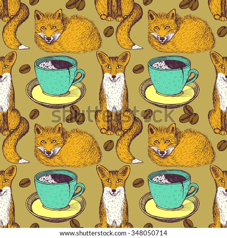 Sketch foxes and coffee in vintage style, vector seamless pattern - stock vector