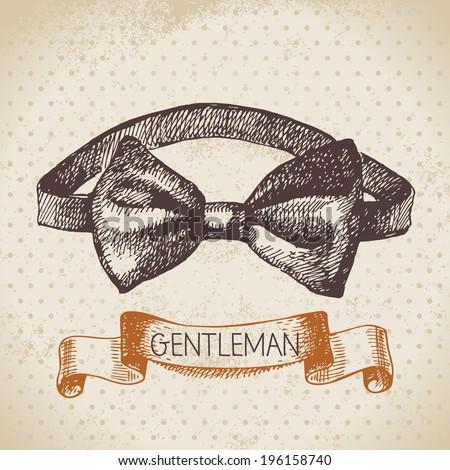 Sketch gentlemen accessory. Hand drawn men illustration - stock vector