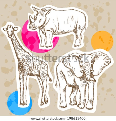 Sketch giraffe, elephant, rhino, vector vintage background - stock vector