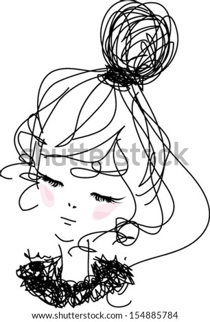 sketch girl hand drawn woman illustration with pink top - stock vector