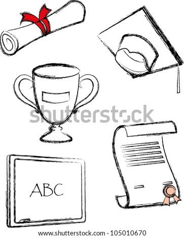 Sketch graduate icon set - stock vector