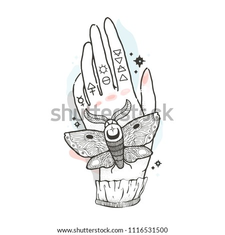 Sketch Graphic Illustration Mystic Occult Hand Stock Vector