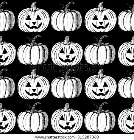 Sketch Halloween's pumpkins in vintage style, vector seamless pattern - stock vector