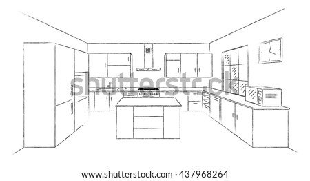 Sketch hand drawing kitchen interior plan with island. Vector kitchen project illustration in perspective. Brush line draw design. - stock vector