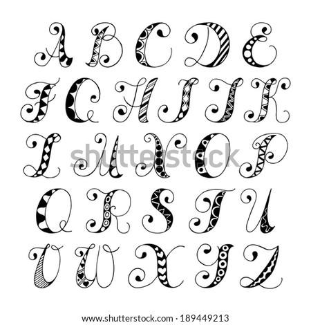 Sketch Hand Drawn Alphabet Black White Stock Vector 189449213 ...