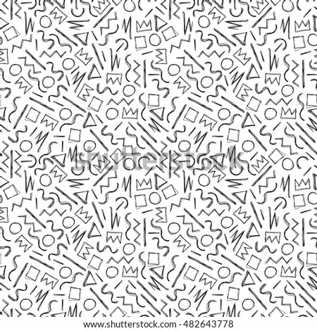 Sketch hand drawn seamless pattern. Memphis style - fashion 80-90s.