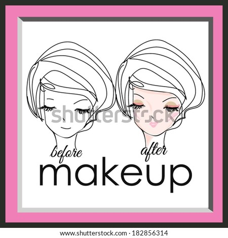 sketch hand drawn woman face, make up girl fashion and beauty illustration, before and after look - stock vector