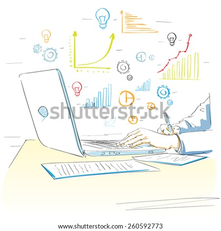 sketch hands using laptop drawing financial graph vector illustration