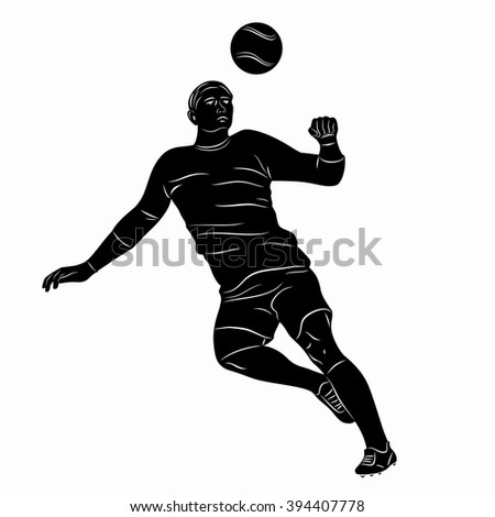 sketch-headed soccer player  , black and white drawing, white background - stock vector