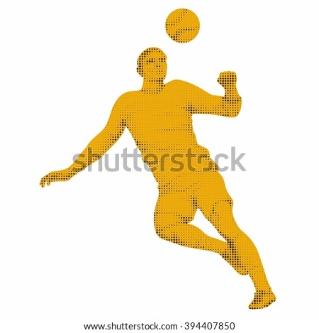sketch-headed soccer player  , black dots and yellow drawing on a white background - stock vector