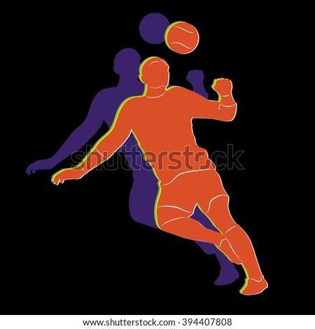 sketch-headed soccer player  , color drawing on black background - stock vector